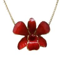 Collier Dendrobium rouge